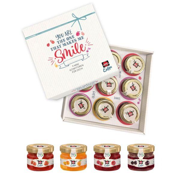 Schwartau Extra Mini-Konfitüre Geschenkset, 9er Set Mini-Marmaladengläser, individualisierbar